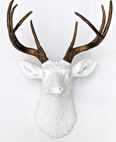 White and Bronze Faux Deer Head - Deer Head Antlers Fake Taxidermy Wall Decor D0109 on Etsy, $89.99