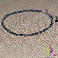 Bratara diamant natural negru 2mm si argint 925
