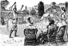 Tennis. Victorian picture showing mixed doubles in a walled garden. A man in breeches and shirt prepares to serve, watched by his partner in a long frilled dress. Spectators sit in basket chairs. Download high quality jpeg for just £5. Perfect for framing, logos, letterheads, and greetings cards.