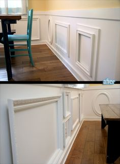 old frames used as wainscoting. i would love to put chalkboard or dry erase paint in them for the kids to play with.