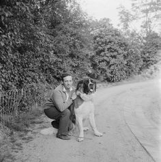Hungarian pianist Georges Cziffra with Dog