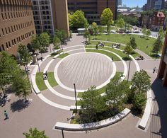 Andropogon transformed a bleak urban plaza in Center City Philadelphia to create a central green for the Thomas Jefferson University campus. By integrating the air conditioning condensation and stormwater runoff of the adjacent academic building with landscape, the plan successfully created efficient, inter-connected systems embedded in the urban fabric.