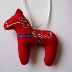 Swedish dala horse out of felt with embroidery from Etsy