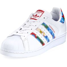 Adidas Superstar Multicolor Stripe Sneaker ($80) ❤ liked on Polyvore featuring shoes, sneakers, white, adidas trainers, leather lace up flats, adidas sneakers, white lace up sneakers and white leather sneakers