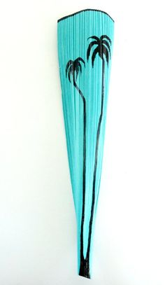 Items similar to Painted Florida Palm Tree Painting Art Wall Vase Coastal Beach Decor Florida Original Turquoise Palm Trees Lrg 4 Feet on Etsy Palm Tree Crafts, Palm Tree Decorations, Palm Tree Art, Floral Decorations, Palm Frond Art, Palm Fronds, Cool Ideas, Florida Palm Trees, Art Blue