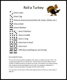 Grab some crayons, dice and print out this Roll a Turkey game, to keep the kids busy while Thanksgiving dinner cooks. 2nd Grade Christmas Crafts, Holiday Parties, Holiday Ideas, Turkey Games, Warm Colour Palette, Ministry Ideas, Thanksgiving Games, Business For Kids, School Stuff