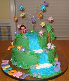 This is a Dora cake for my youngest daughter. I borrowed lots of ideas from you all here! Thank you so much! I thought it turned out really cute.