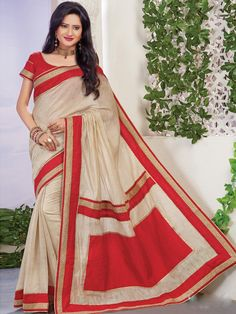 Wondrous cream and red viscose jute party wear saree. This attire is nicely designed with zari work, lace work and embroidery work. Comes with matching blouse. #mydesiwear #sarees #designersarees #partywearsarees