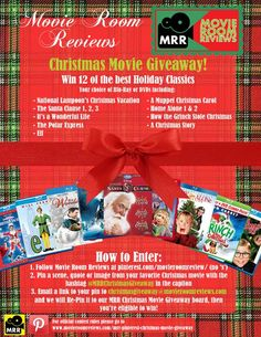 Here are the details for the MRR Christmas Movie Giveaway! Follow the Movie Room Reviews Page and pin quotes, pictures, scenes and characters from your favorite holiday movies using the hashtag #MRRChristmasGiveaway. Then email a link of your pin to christmasgiveaway@movieroomreviews.com for entry. #contest #movies