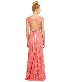 Sequin Hearts CapSleeve Lace Gown #Dillards
