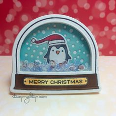 Lawn Fawn Ready Set Snow Snow Globe Shaker Add on Christmas Penguin sequin shaker card by Wendie Bee of Stamp Right Up Stamped Christmas Cards, Christmas Cards To Make, Christmas Tag, Xmas Cards, Holiday Cards, 3d Cards, Christmas Ideas, Card Making Inspiration, Making Ideas
