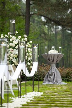 Beautiful outdoor wedding ceremony setup by Watered Garden- love the tall table to set unity candle on at altar Mod Wedding, Garden Wedding, Wedding Events, Dream Wedding, Wedding Day, Casual Wedding, Wedding Wishes, Table Wedding, Trendy Wedding