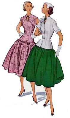 1952 Drop waist dress, skirt, and bodice sewing pattern