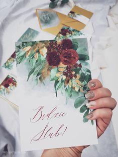 Zaproszenia ślubne Eukaliptusowy Blask autorstwa pracowni Projekt Ślub to wzór z najnowszej kolekcji 2019 Wedding Stationary, Wedding Invitations, Burgundy Wedding, Wedding Guest Book, Save The Date, Dream Wedding, Wedding Stuff, Tableware, Cards