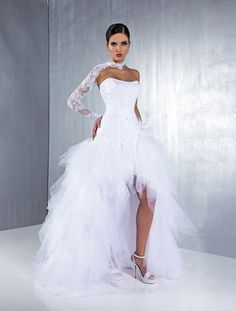 Lovely Strapless A-line High Low Wedding Dresses Tulle Netting Lace Beaded Sequin Bridal Gowns Vestidos Garden 2015 Spring Summer Gorgeous Wedding Dress, Dream Wedding Dresses, Wedding Gowns, White Bridal Dresses, Sweet 16 Dresses, Ball Dresses, Ball Gowns, Flower Girl Dresses, Marie Laporte