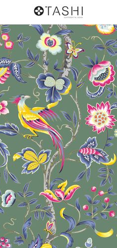 Jacobean Glamour, is an exquisite design with intricate details and vibrant colors with a number of carefully selected base color options. Textile Patterns, Print Patterns, Jacobean, Bird Drawings, Pattern Illustration, Repeating Patterns, Surface Design, Pattern Design, Vibrant Colors