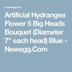 """Artificial Hydrangea Flower 5 Big Heads Bouquet (Diameter 7"""" each head) Blue - Newegg.Com"""