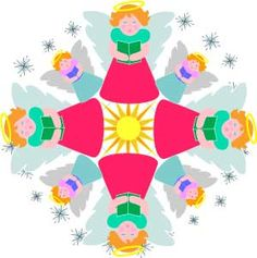 Angels mandala Christmas ornament paper craft or clip art, LeeHansen.com