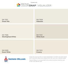 I found these colors with ColorSnap® Visualizer for iPhone by Sherwin-Williams: Greek Villa (SW Westhighland White (SW Dover White (SW Alabaster (SW White Duck (SW Creamy (SW Greek Villa Sherwin Williams, Sherwin Williams Creamy, Sherwin Williams Dover White, Sherwin Williams Alabaster, Exterior Paint Colors For House, Interior Paint Colors, Paint Colors For Home, House Colors, Exterior Colors