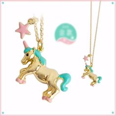 This gold unicorn necklaceis a charm pendantdesign. The unicorn necklace pendant is a danglingjewelry design with pink star. Unicorn Shops necklace is available in gold, pink and teal colors.This gold color unicorn necklace is a unique jewelry item for yourself or a good present for someone else. We offer a big selection of unicorn necklaces, one of the bigest selections for a specialty internet site.