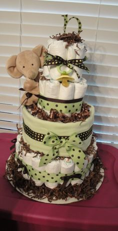 Green & Brown Diaper Cake