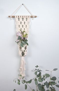 Macrame wall hanging plant holder decor idea by Amy Zwikel Studio. Perfect unique macrame piece for candles, plants and flowers. Macrame Design, Macrame Art, Macrame Projects, Macrame Knots, Macrame Plant Holder, Plant Holders, Macrame Patterns, Hanging Plants, Plant Hanger