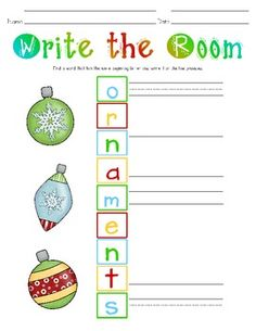 """These FREE """"Write the Room"""" center printables will be a great addition to your center! Students can find any word posted around the room beginning with the letters from the words """"Santa Claus,"""" """"candy canes,"""" """"ornaments,"""" and """"gingerbread,"""" and then record the words on the recording sheet. Our children love to read around the room for certain words and now they also """"write the room"""" to find words that in list-form will spell these holiday words vertically. Students love the colorful clipart!"""