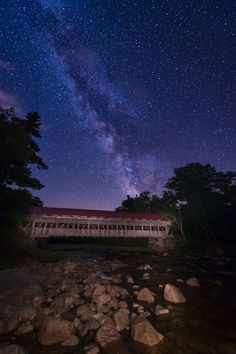 Milky Way seen from the Albany Covered Bridge, Kancamagus Highway, White Mountains, New Hampshire by Michael Blanchette, via 500px