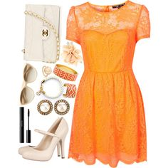 neon dress with nude accesories = <3