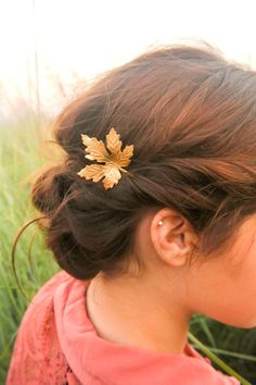 5c70a5b265d4 Tuck a glimmering gold leaf into your hair. Hair Jewelry