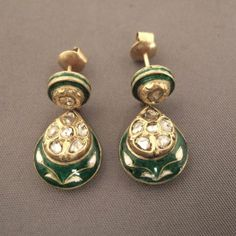 """22ct gold, enamel, diamonds, India A beautiful old pair of earrings """"Moghul style"""" from the holy city of Hinduism, Varanasi in Uttar Pradesh ... Weight:2 x 3,7gr Height:1,023inch www.halter-ethnic.com...see"""" My Lucky Finds"""""""