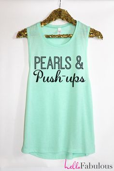 Pearls and Push-ups Workout Tank Top. Sweating for the Wedding Tank. Woman's Muscle Tank. Bride tank. Running Tank. Crossfit Tank Top. on Etsy, $22.99