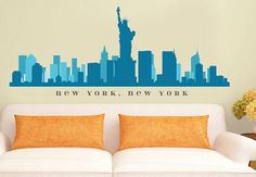 """NEW YORK NY Skyline Wall Decal Art Vinyl Removable Peel n Stick up to 90"""" wide Office Business Decor City"""