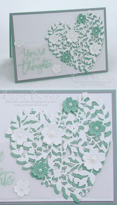 handmade sympathy card using Stampin Up Bloomin Heart dies, Bloomin Love stamp set & Thoughtful Branches. By Di Barnes #colourmehappy 2016-17 annual catalogue