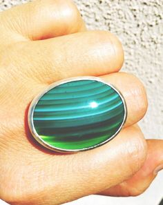 Sterling silver and green agate ring