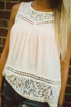 Lace Spliced White Tank Top