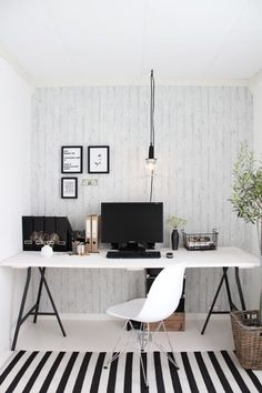 offices striped walls and black and white on pinterest black and white office