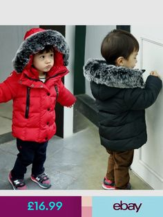 6b54eb02d8057 Kids Boys Girls Quilted Jacket Coat Fur Hooded Cotton Padded Down Parkas  Jacket