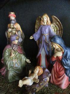 Rustic dark wood nativity stable Christmas by cgraceandcompany