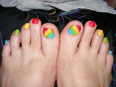 My daughter painted my toenails today......they look like candy