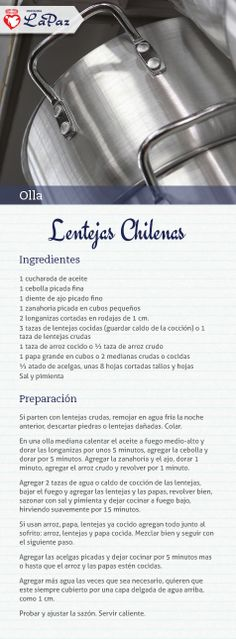 Lentejas Chilenas Chilean Recipes, Chilean Food, Home Food, Sin Gluten, Meal Planning, Fruit, How To Make, Cooking Ideas, Foods