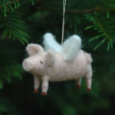 When Pigs Fly  Needle Felted Christmas Ornament by BossysFeltworks