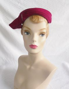 1950's Vintage Fuchsia Velvet Cocktail Hat by MyVintageHatShop, $34.00