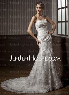 Wedding Dresses - $209.09 - Mermaid Sweetheart Chapel Train Satin  Tulle Wedding Dresses With Lace  Beadwork (002011464) http://jenjenhouse.com/Mermaid-Sweetheart-Chapel-Train-Satin--Tulle-Wedding-Dresses-With-Lace--Beadwork-002011464-g11464