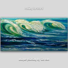Huge Rolling Ocean Wave, Contemporary Sesacape ocean blue, Original acrylic painting 48x24. via Etsy.