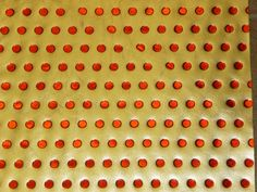 """Leather 8""""x10"""" Red Metallic Polka Dots on Gold Metallic Cowhide PeggySueAlso?"""