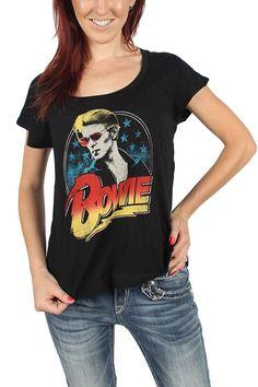 Authentic DAVID BOWIE Aladdin Sane Girl Juniors Dolman T-Shirt S M L XL XXL NEW