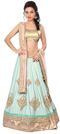 Buy Online from the link below. We ship worldwide (Free Shipping over US$100) Price - $1,019.00 Click Anywhere to Tag http://www.kalkifashion.com/blue-lehenga-adorn-in-kundan-embroidered-butti-only-on-kalki.html