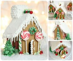 simple red and green whimsical christmas gingerbread houses recipe for royal icing Gingerbread House Icing, Christmas Gingerbread House, Christmas Treats, Christmas Baking, Christmas Cookies, Christmas Time, Gingerbread Recipes, Christmas Specials, Gingerbread Village