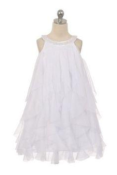 f7a60fe1915 BIMARO Mädchen Kleid Lucia weiß Festkleid edler Mesh Volants Perlen  festlich Hochzeit Kommunion Taufe Blumenmädchen Mädchen